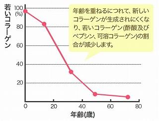 コラーゲン量と年齢の関係グラフ