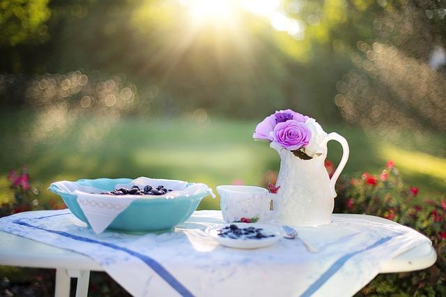 朝日を浴びながらの食事