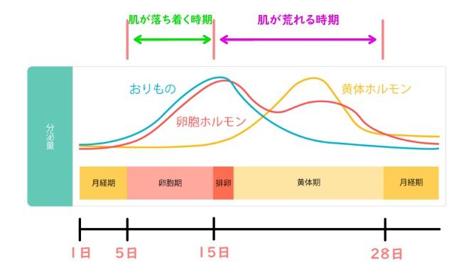 生理で肌が荒れる推移グラフ